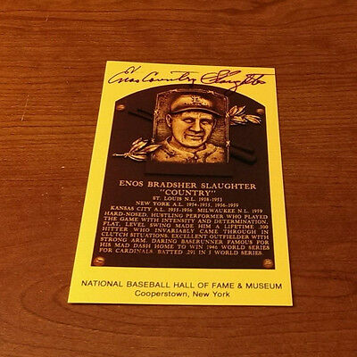 Enos Country Slaughter Hall Of Fame Yellow Plaque Hof Signed Auto Deceased Rare