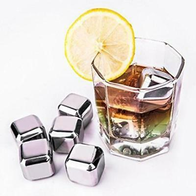 Reusable Stainless Steel Ice Cube Health ey Stones Cooler Drink Chiller -S