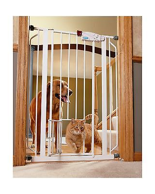 Carlson Pet Products 0941PW Extra Tall Walk-Thru Gate with Pet Door White