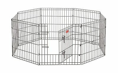 Lucky Dog ZW 11624 Exercise Pen with Stakes 24-Inch Black
