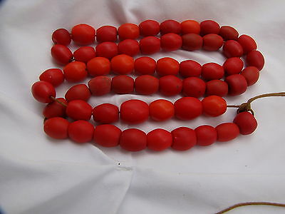 prayer trade beads red coral color african glass trade beads exquisite condition