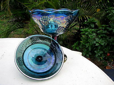 carnival glass large candy dish and lid collectible antique