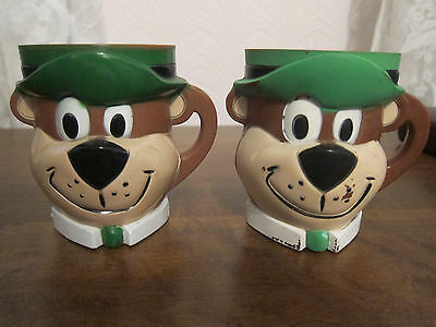2 Vintage Yogi Bear Plastic Cups, Clean, Great Vintage Shape! Nice Collectibles