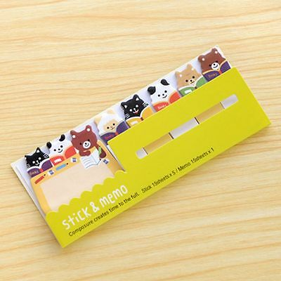 Cute Post it Stick & Memo Note Pad Stationery - Animals Reading