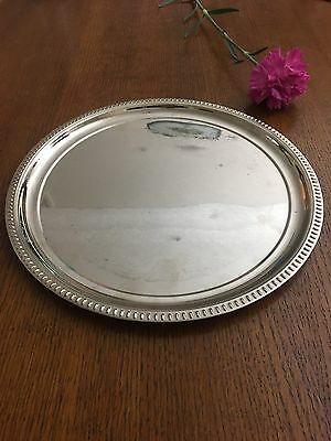 Vintage Round Metal Silver Driink Serving Tray. Made In Hong Kong