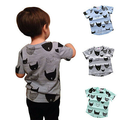 New Baby Kids Boys Short Sleeve T-Shirt Tee Child Casual Cotton Tops Shirts 1-6Y