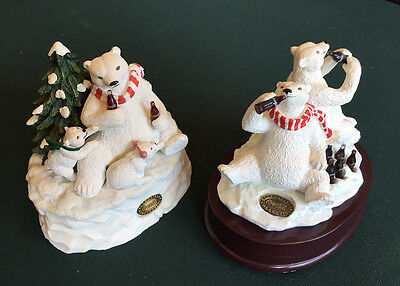 Lovely Pair of COCA COLA MUSIC BOXES Polar Bears HERITAGE COLLECTION