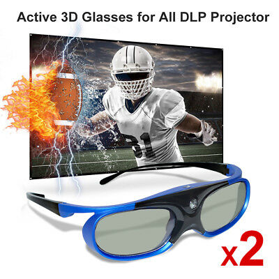 2x Active 3D Glasses Universal For DLP 3D Ready Projector Optoma BenQ Panasonic