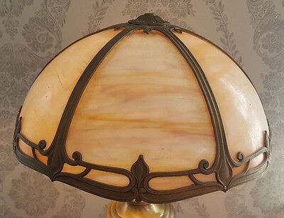 Stunning Antique Art Nouveau Bronze Lamp Panel Glass Filagree Shade