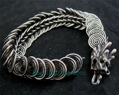 Lucky tribal jewelry Dragon shape Men's tibet silver bracelet