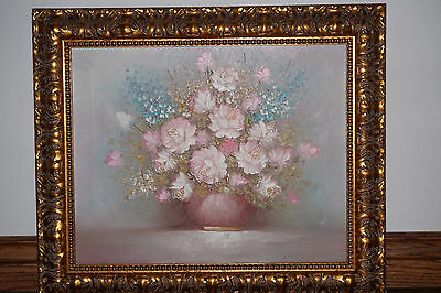 Vintage Oil Painting On Canvas Framed Pink Roses Unsigned