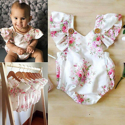 Baby Kid Girls Floral Cotton Sleeveless Romper Jumpsuit Bodysuit Clothes Outfits