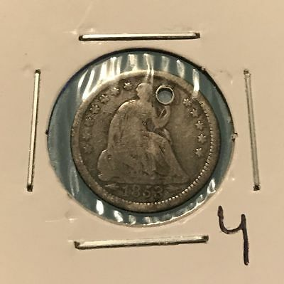1853 H10C Seated Liberty Half Dime: Holed #4