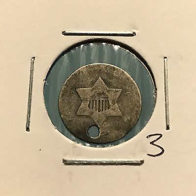 1853 3C Silver Three Cent Type 1: Holed #3