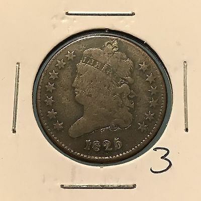 1825 1/2C Classic Head Half Cent: Rotated Die: Holed and Plugged #3