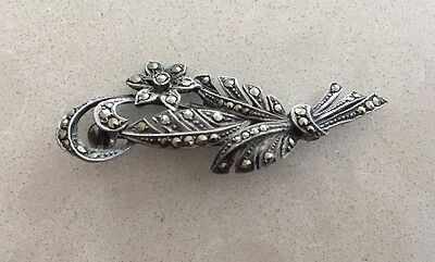 Antique Vintage Sterling Silver and Marcasite Brooch in a flower & bow design.