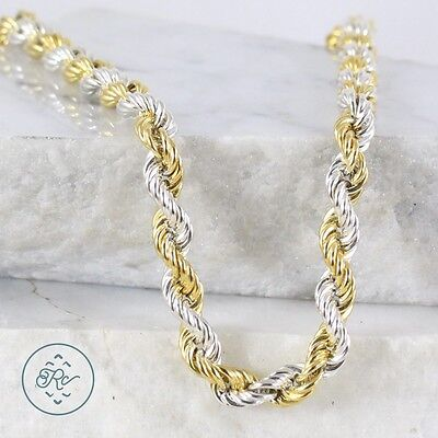 "Sterling Silver | MILOR 7mm Gold Accent Rope Chain 35.4g | Necklace (24"") MV8843"