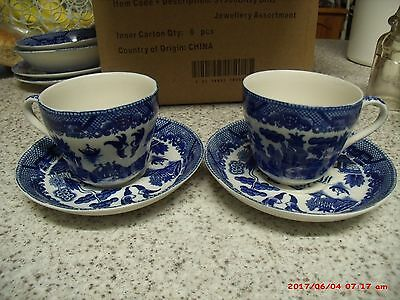 2 x blue & white cup and saucer set willow ware