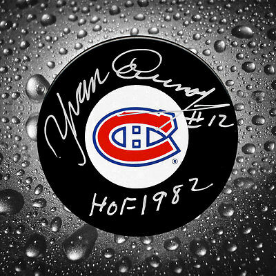 Yvan Cournoyer Montreal Canadiens HOF Autographed Puck
