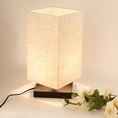 Table Lamp Bedside Desk Lamp With Fabric Shade and Solid Wood for Kids Bedroom