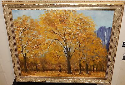 Forest Tree Landscape Oil On Canvas Painting Unsigned