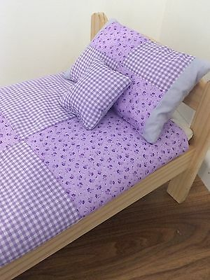 Dolls Bedding set. Lilac floral & check.  For bed,crib.pram or cradles
