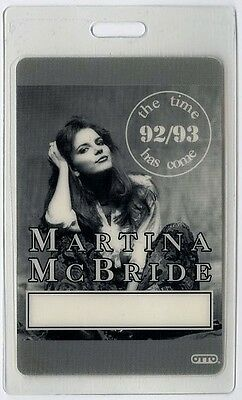 Martina McBride authentic 1992 Laminated Backstage Pass Time has Come Tour AA