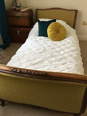 Pair Of Antique French Corbeille Walnut & Upholstered Single Beds