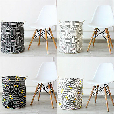 Linen Toys Storage Basket Round Basket with Geometric Design for Clothes Toys