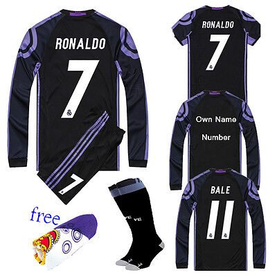2017 Football Black Long Short Sleeve Jersey Kids Youth Sportwear Kit +Socks