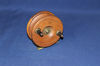 """Vintage 4"""" Mahogany Wood and Brass Fly Fishing Reel Working Unmarked English?"""