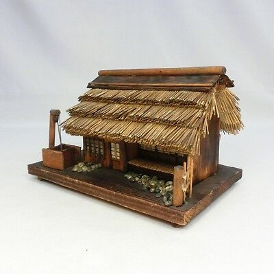 D456: Japanese wooden old house statue as ornament for BONSAI. 2