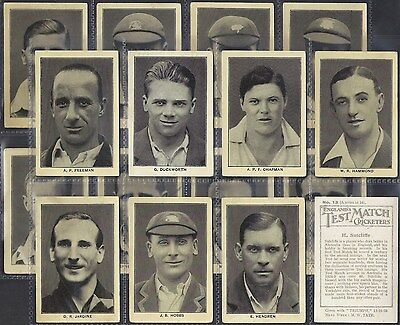Amalgamated Press-Full Set- England's Test Match Cricket Ers (M16 Cards)