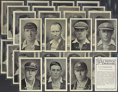 Amalgamated Press-Full Set- Famous Test Match Cricket Ers (M32 Cards)