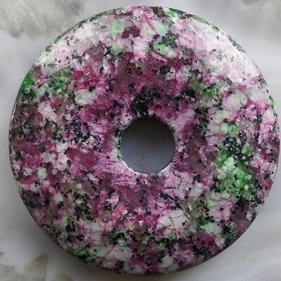 G0064582 Beautiful Pink Ruby in Fuchsite Donut 50x7mm Pendant bead