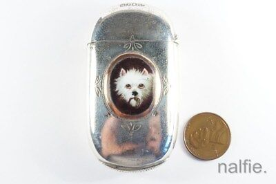 ANTIQUE ENGLISH SILVER PLATED ENAMEL WESTIE DOG MATCHSAFE c1890 W/ MATCHES