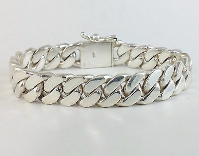 "7"" 68g HEAVY CHUNKY BIKER CUBAN CURB CHAIN LINK 925 STERLING SILVER MEN BRACELET"