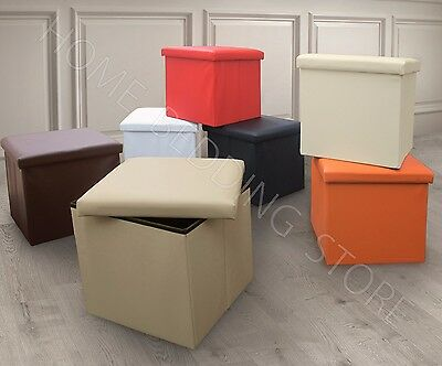Single One Seater Ottoman Storage Box Foot Stool Seat Foldable Suede / Leather
