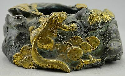 China Style Collectible Decorated Bronze Gold Plate squirrel Tree Inkwell