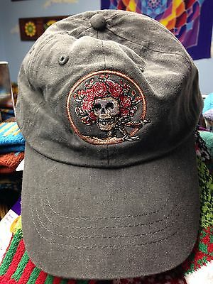 Grateful Dead Bertha Skull & Roses Baseball Hat on Stone Wash Black