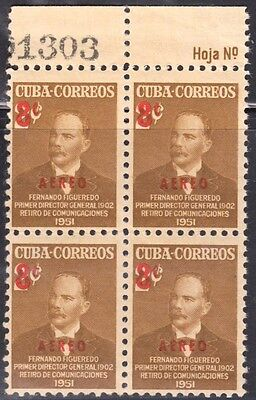 1952 Caribbean Stamps Sc C52 Fernando Figueredo Surcharged Block 4 MNH