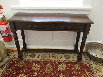 Antique Vintage Solid Wood Hall Table & 2 Draws Turned Detail