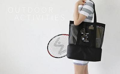 Picnic Lunch Cooler Shoulder Bag Waterproof Mesh Ventilate Hand Two-Layer Design