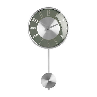 Pendulum Wall Clock Grey & Silver Metal For Living Room Office Home Glass Front