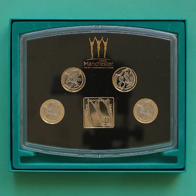 2002 Manchester Commonwealth Games 4 coin boxed set £2 two pound coins SNo45213