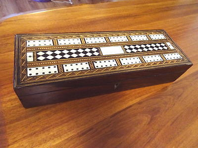 ANTIQUE  INLAID VICTORIAN GAMES BOX w CRIBBAGE COUNTERS  POKER CHIPS