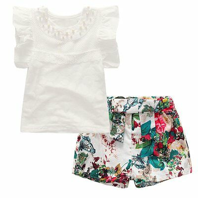 2PCS Toddler Kids Baby Girls Outfit Clothes T-shirt Tops+Floral Pants Shorts Set