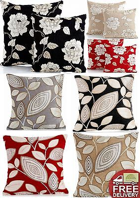 """Luxury Chenille Floral Jacquard Scatter Cushion Cover London Leaf Rose 18""""x18"""