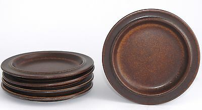 5x Vintage Arabia Finland Side/B&B Plates 16cm - Brown Stoneware - RETRO 1970's