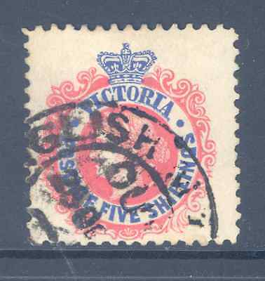 Australia Victoria 1863/84 5/- Red And Blue Very Fine Used